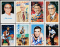 Autographs:Post Cards, Signed Basketball Hall of Fame Postcards, Lot of 8....