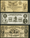 Obsoletes By State:Louisiana, New Orleans, LA- Bank of Louisiana $5 May 22, 1862 Fine; Citizens' Bank of Louisiana $1 18__ Remainder Crisp Uncircula... (Total: 3 notes)