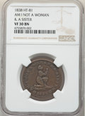 Hard Times Tokens, 1838 Am I Not a Woman & a Sister, Low-54, DeWitt-CE-1838-19, HT-81, W-11-720a, R.1, VF30 NGC. Copper, plain edge, 28 mm....