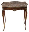 Furniture, A French Louis XV-Style Gilt Bronze Mounted Mahogany Table with Marble Top, 19th century . 26 x 24 x 17 inches (66.0 x 61.0 ...