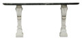 Furniture, A French Regence-Style Marble Console Table, 19th century . 39 x 86 x 20-1/2 inches (99.1 x 218.4 x 52.1 cm). ...