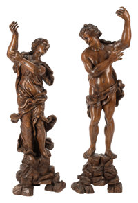 A Pair of French Carved Hard Wood Figures, 19th century 55 x 15 x 11 inches (139.7 x 38.1 x 27.9 cm) (tallest)