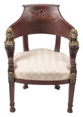 Furniture, A Baltic Egyptianesque Bronze Mounted Mahogany Armchair, 19th century . 33 x 23-1/2 x 19-1/2 inches (83.8 x 59.7 x 49.5 cm)...
