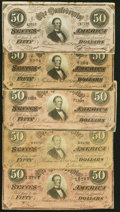 Confederate Notes:1864 Issues, T66 $50 1864 Five Examples Fine or Better.. ... (Total: 5 notes)