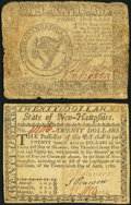 Continental Currency April 11, 1778 $8 Very Good; Uncancelled New Hampshire April 29, 1780 $20 Very Fine.</
