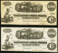 Confederate Notes:1862 Issues, T40 $100 1862 Two Examples Fine-Very Fine; About Uncirculated.. ... (Total: 2 notes)
