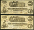 Confederate Notes:1862 Issues, T40 $100 1862 PF-2 Cr. 306 Two Examples Very Fine.. ... (Total: 2 notes)
