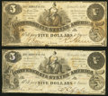 T36 $5 1861 Two Examples Fine-Very Fine or Better