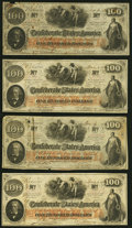 T41 $100 1862 Four Examples Fine-Very Fine or Better