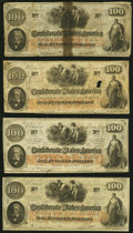 T41 $100 1862 Four Examples Very Good or Better