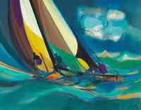 Marcel Mouly (French, 1918-2008) La voile jaune, 1982 Oil on canvas 35 x 46 inches (88.9 x 116.8