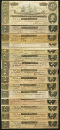 Confederate Notes:1864 Issues, T67 $20 1864 Fifteen Examples Fine or Better.. ... (Total: 15 notes)