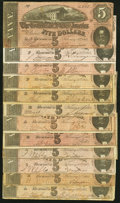 Confederate Notes:1864 Issues, T69 $5 1864 Twelve Examples Fine-Very Fine or Better.. ... (Total: 12 notes)