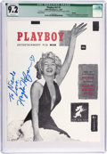 Movie/TV Memorabilia:Autographs and Signed Items, Hugh Hefner Signed and Inscribed 2007 Reprint of Playboy First Issue CGC Graded 9.2....