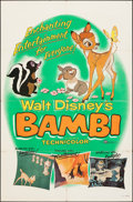 "Movie Posters:Animation, Bambi (Buena Vista, R-1957). Folded, Fine/Very Fine. One Sheet (27"" X 41""). Animation.. ..."
