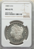 Morgan Dollars: , 1885-S $1 MS62 Prooflike NGC. NGC Census: (23/200). PCGS Population: (27/124). MS62. Mintage 1,497,000. ...