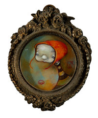 Jenna Colby (20th Century) Untitled #4, 2006 Oil on board 3-1/4 inches diameter (8.3 cm) Signe