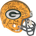 Football Collectibles:Helmets, 1967 Green Bay Packers Super Bowl I Team Signed Helmet - Nearly Complete (9 HOFers) - Limited 23/200. ...