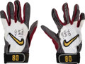 """Football Collectibles:Others, 1998 Jerry Rice """"TD Rec. 169"""" Game Worn San Francisco 49ers Receiving Gloves. ..."""