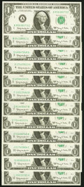 Complete District Set Fr. 1901-A-L $1 1963A Federal Reserve Notes. Twelve Examples. Choice Crisp Uncirculated