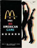 Baseball Collectibles:Programs, 1981 McDonald's All-American High School Basketball Program Signed by Michael Jordan & Ticket.... (Total: 2 item)
