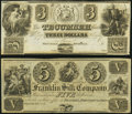 Tecumseh, MI - Tecumseh Bank $3 18__ Remainder; and a Franklin, OH- Franklin Silk Company $5 18__ Remai