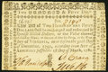 Virginia March 1, 1781 $250 printed on thick laid paper Very Fine