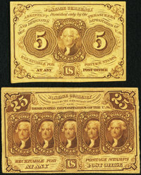 Fr. 1230 5¢ First Issue About New, and a Fr. 1281 25¢ First Issue Very Fine