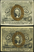 Fractional Currency:Second Issue, Fr. 1246 10¢ Second Issue Very Choice New+,. and a Fr. 1286 25¢ Second Issue Very Fine.. ... (Total: 2 notes)