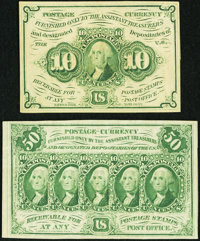 Fr. 1243 10¢ First Issue About New, and a Fr. 1312 50¢ First Issue About New
