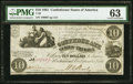 Confederate Notes:1861 Issues, T28 $10 1861 PF-8 Cr. 235A PMG Choice Uncirculated 63.. ...