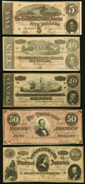 Confederate Notes:Group Lots, T65 $100 1864; T66 $50 1864; T67 $20 1864; T68 $10 1864; T69 $5 1864 Very Fine or Better. Five Examples.. ... (Total: 5 notes)