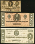 Confederate Notes:Group Lots, T70 $2 1864 Very Fine; . T71 $1 1864 Extremely Fine-About Uncirculated; . T72 50¢ 1864 About Uncirculated.. ... (Total: 3 notes)