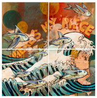 Nick Yarger (20th Century) Where's My Piece (set of 4), 2006 Acrylic, graphite, and glitter on wood<