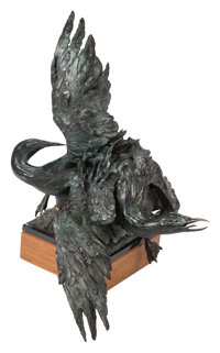 Sandy Scott (American, b. 1943) Untitled (Swans Figural Group), 1983 Patinated bronze 34 x 26 x 2