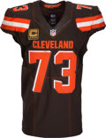 Football Collectibles:Uniforms, 2016 Joe Thomas Game Worn, Signed & Unwashed Cleveland Browns Jersey - Photo Matched to 11/27 vs. Giants....