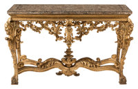 An Italian Carved Giltwood Console Table with Marble Top, 18th century 39-1/2 x 63 x 24 inches (100.3 x 160.0 x 6