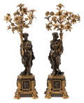 Furniture, A Pair of Napoleon III Gilt and Patinated Bronze Figural Candelabras, 19th century. 35 x 12-1/2 x 12-1/2 inches (88.9 x 31.8... (Total: 2 Items)