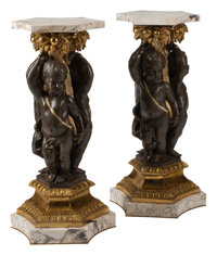 A Pair of French Louis XV-Style Patinated and Gilt Bronze Figural Pedestals on Marble Bases 38 x 19 x 19 inches (