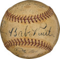 Baseball Collectibles:Balls, 1934 Babe Ruth Signed Baseball with Clubhouse Detroit Tigers Team Signatures....