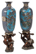 Ceramics & Porcelain, A Pair of Japanese Cloisonné Vases on Figural Carved Wood Bases, Meiji Period. 36 x 16 x 12 inches (91.4 x 40.6 x 30.5 cm) (... (Total: 2 Items)