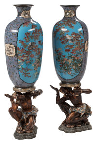A Pair of Japanese Cloisonné Vases on Figural Carved Wood Bases, Meiji Period 36 x 16 x 12 inches (91.4 x 40.6 x...