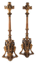 Furniture, A Pair of Italian Neoclassical Carved Giltwood Floor Torchieres, 19th century . 69 x 20 x 15 inches (175.3 x 50.8 x 38.1 cm)... (Total: 2 Items)