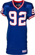 Football Collectibles:Uniforms, 1997 Michael Strahan Game Worn New York Giants Jersey Photo Matched to 12/27 Playoffs Game vs. Vikings and Game Worn Cleats, P...