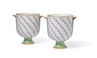 Gio Ponti (Italian, 1891-1979) Pair of Rare Footed Vases from the Lancesca series, designed 1926, produ