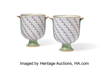 Gio Ponti (Italian, 1891-1979) Pair of Rare Footed Vases from the Lancesca Series, designed 1926, produced 1933/1935, R... (Total: 2 Items)