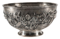 A Japanese High-Relief Silver Centerpiece Bowl Marks: three-character mark, (triangle-turtle) 7 x 13 inches (17