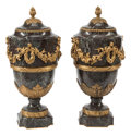 Furniture, A Pair of French Louis XVI-Style Gilt Bronze Mounted Marble Covered Urns, 19th century. 19-1/2 x 9-1/2 x 9-1/2 inches (49.5 ... (Total: 2 Items)