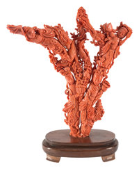 A Large Chinese Carved Coral Figural Group on Wood Base 12-1/2 x 12-1/2 x 2-1/2 inches (31.8 x 31.8 x 6.4 cm) (cor