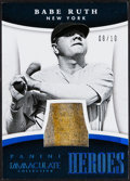 Baseball Cards:Singles (1970-Now), 2015 Panini Immaculate Collection Babe Ruth Heroes Jersey Relic Card #1 - Serial Numbered 8/10....